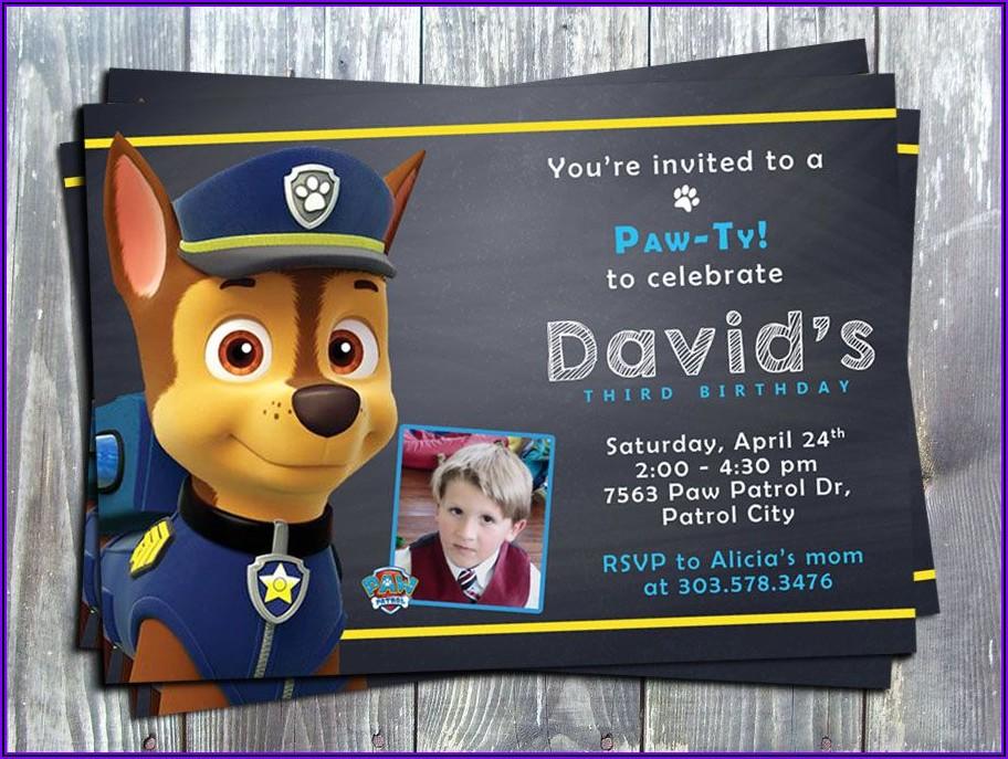 Personalized Paw Patrol Birthday Invitations