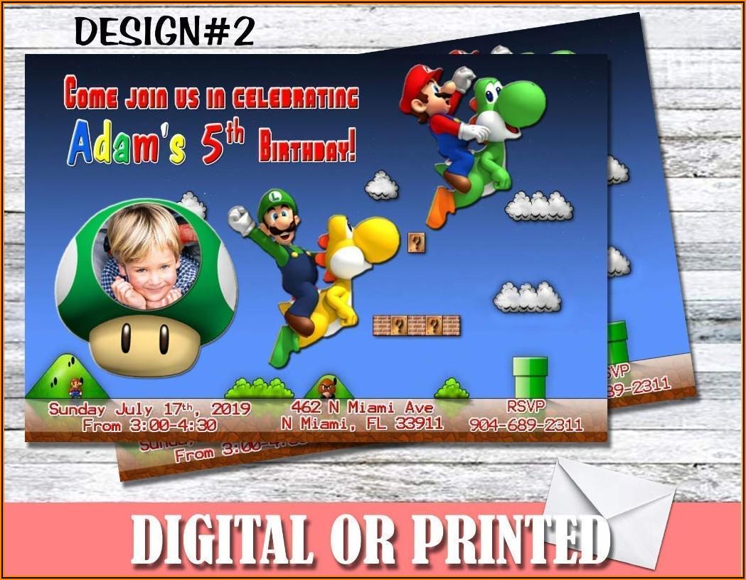 Personalized Super Mario Birthday Invitations