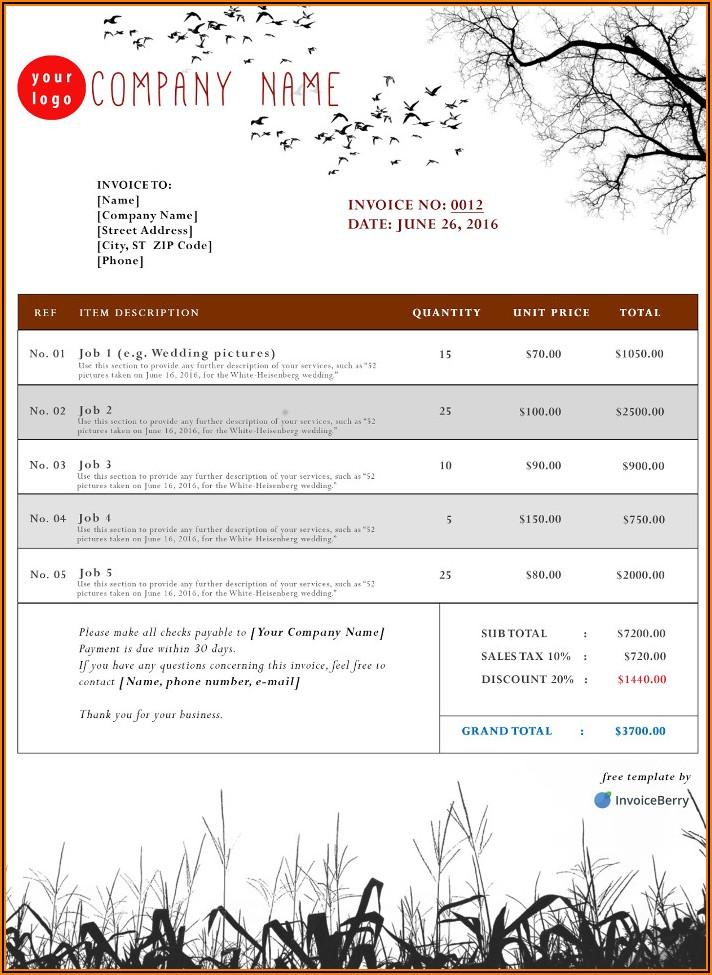 Pest Control Invoice Template Free