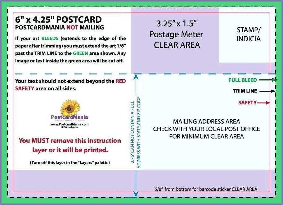 Photoshop Postcard Template 4 Per Page