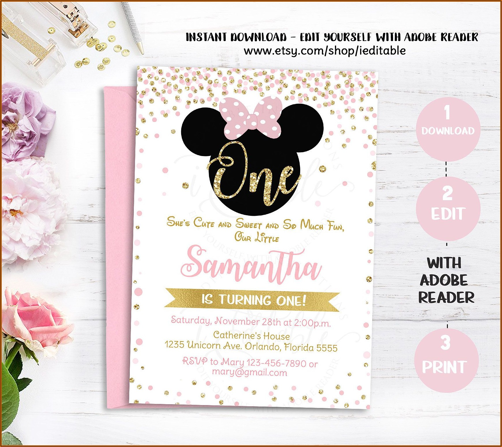 Pink And Gold Minnie Mouse Invitations