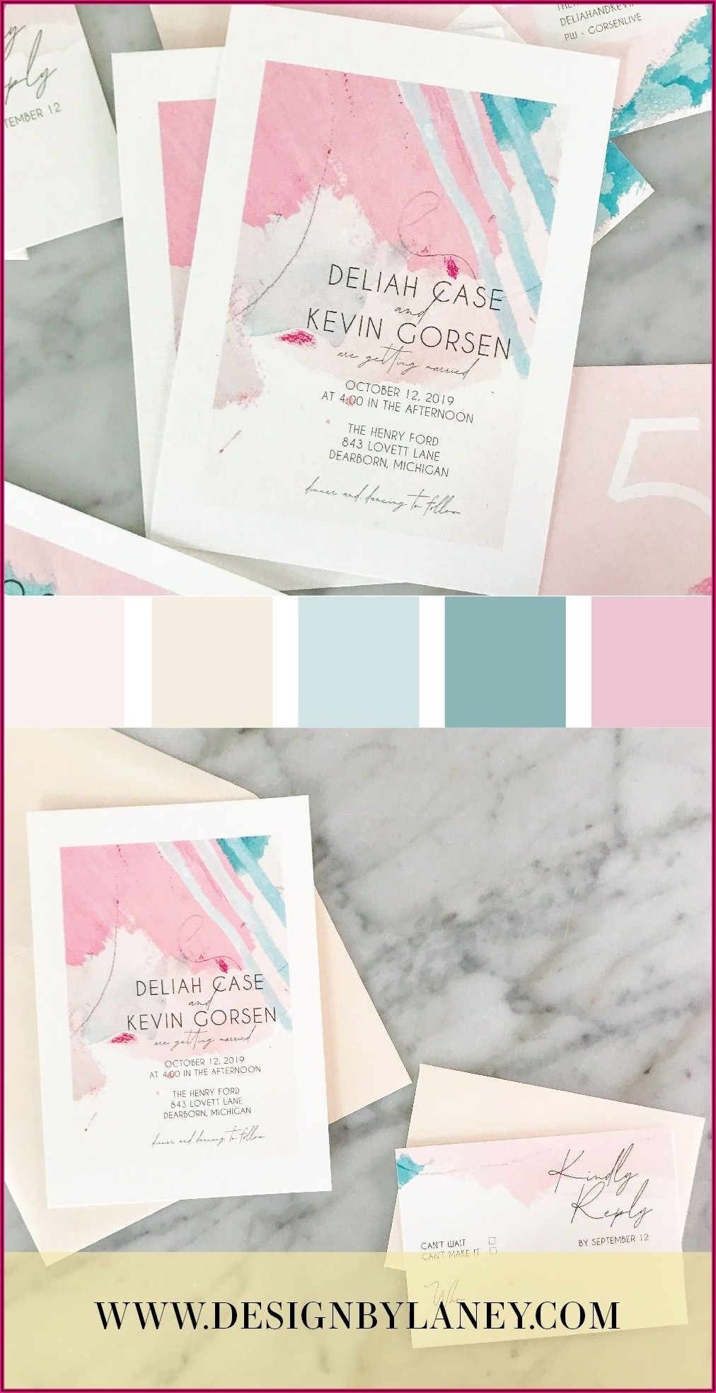 Pink And Teal Wedding Invitations