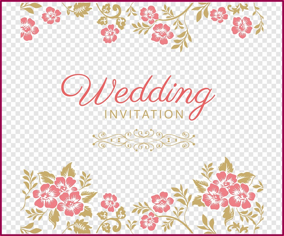 Pink Flower Wedding Invitations