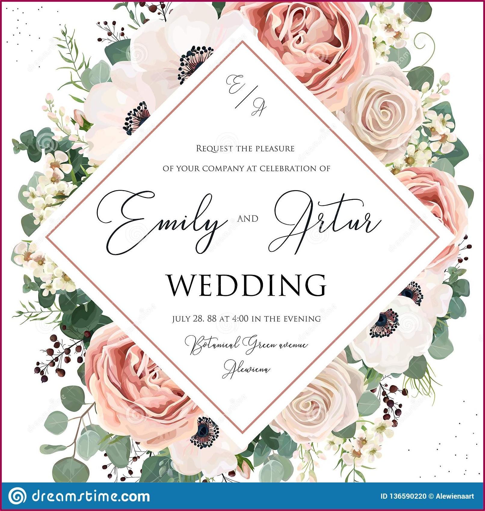 Pink Flower Wedding Invite