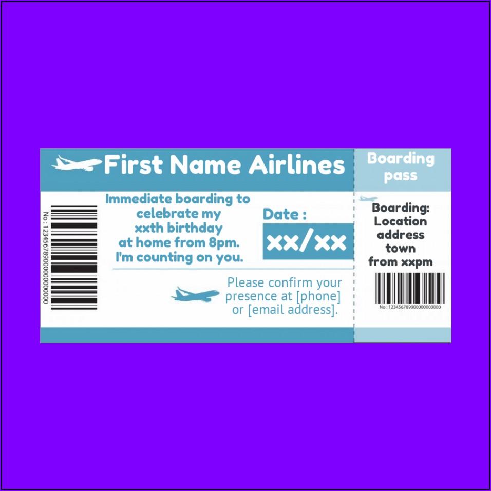 Plane Ticket Birthday Invitation Template