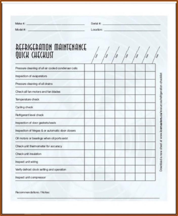 Preventive Maintenance Schedule Excel Format