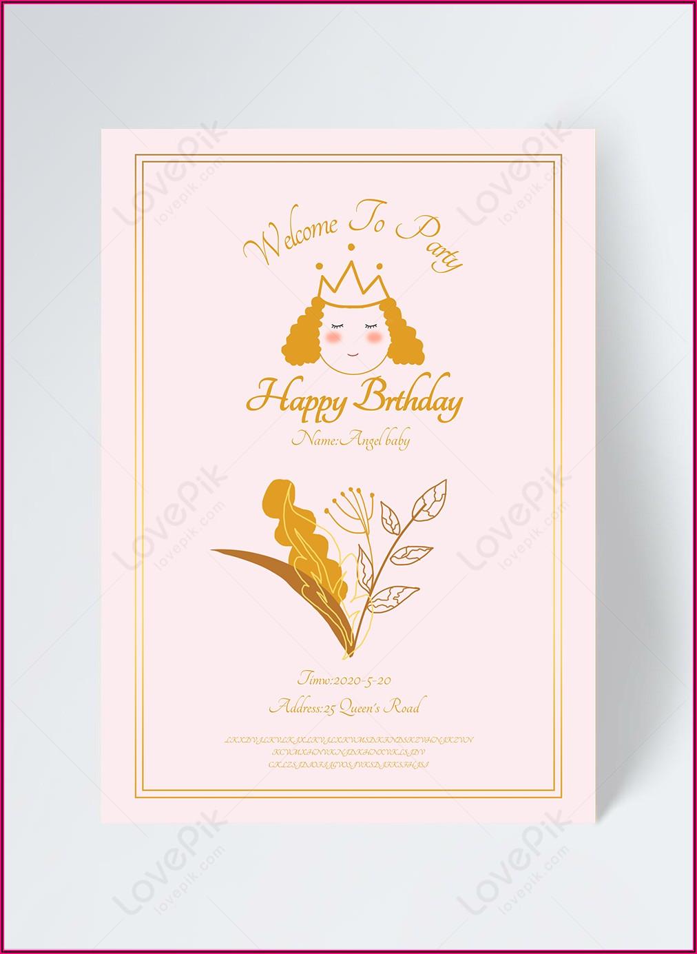 Princess Birthday Invitation Template Free Download