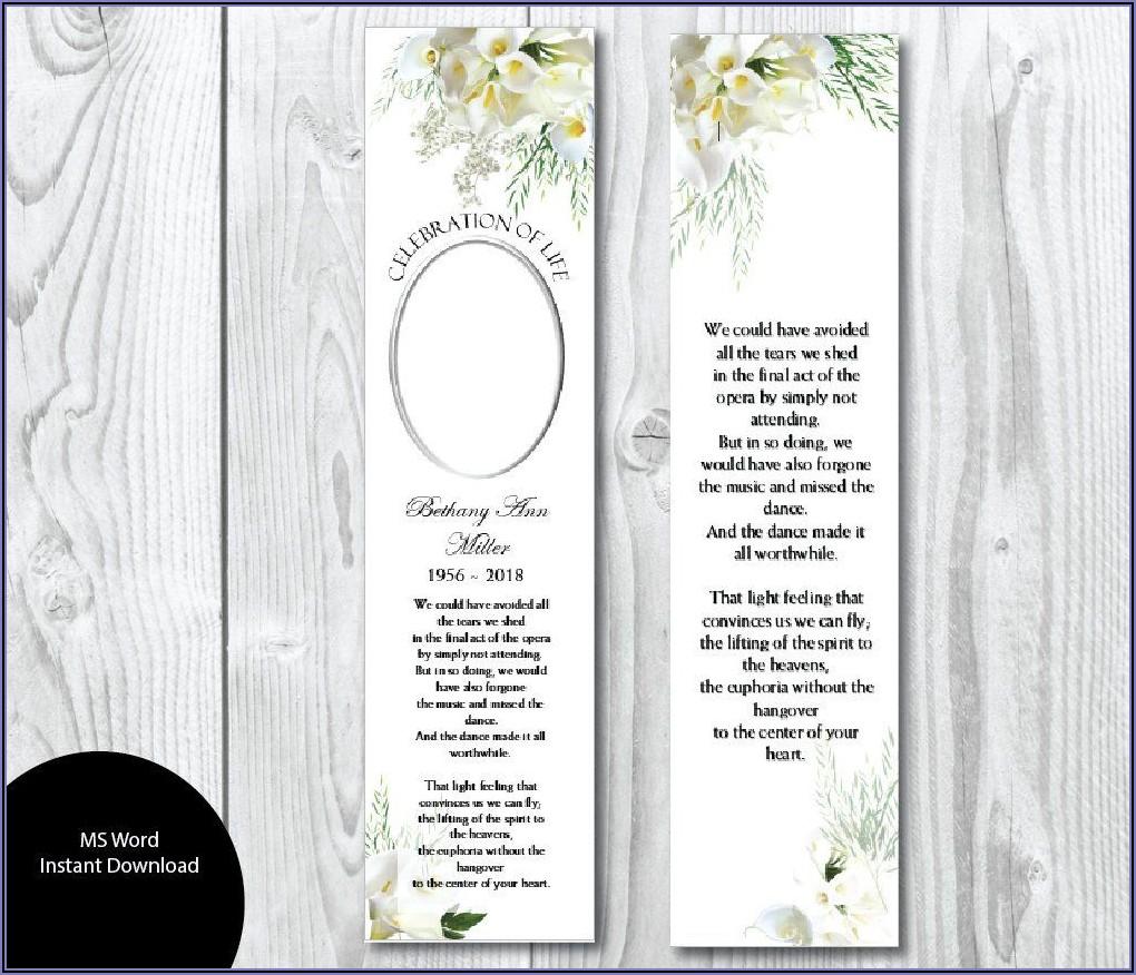 Printable Editable Funeral Bookmarks Template Free