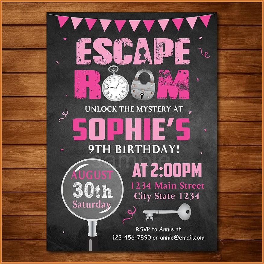 Printable Escape Room Birthday Invitations
