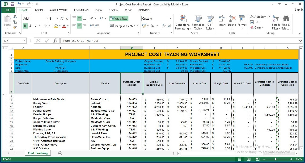 Project Cost Tracking Template Excel Free Download