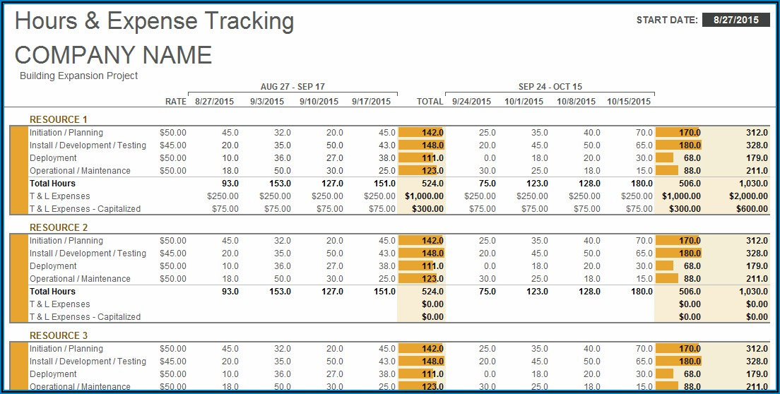 Project Cost Tracking Template Excel