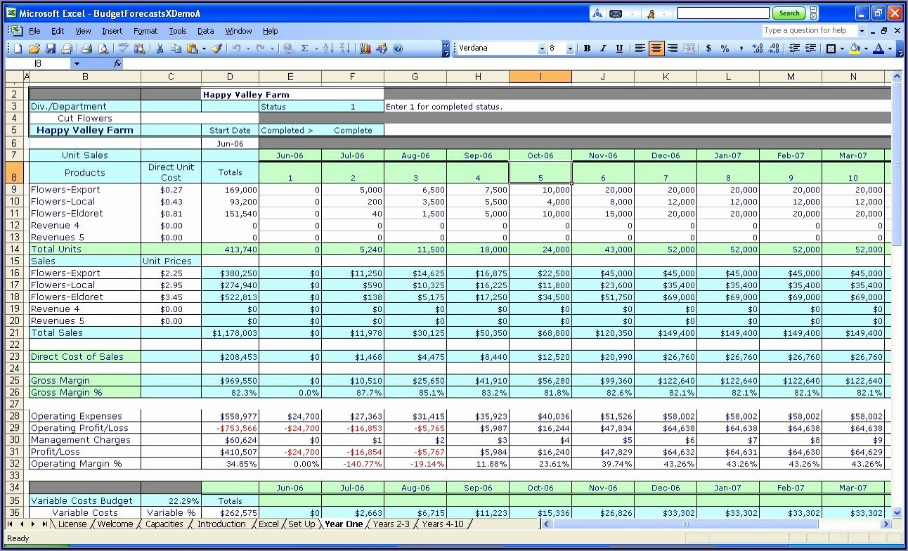 Project Management Spreadsheet Example