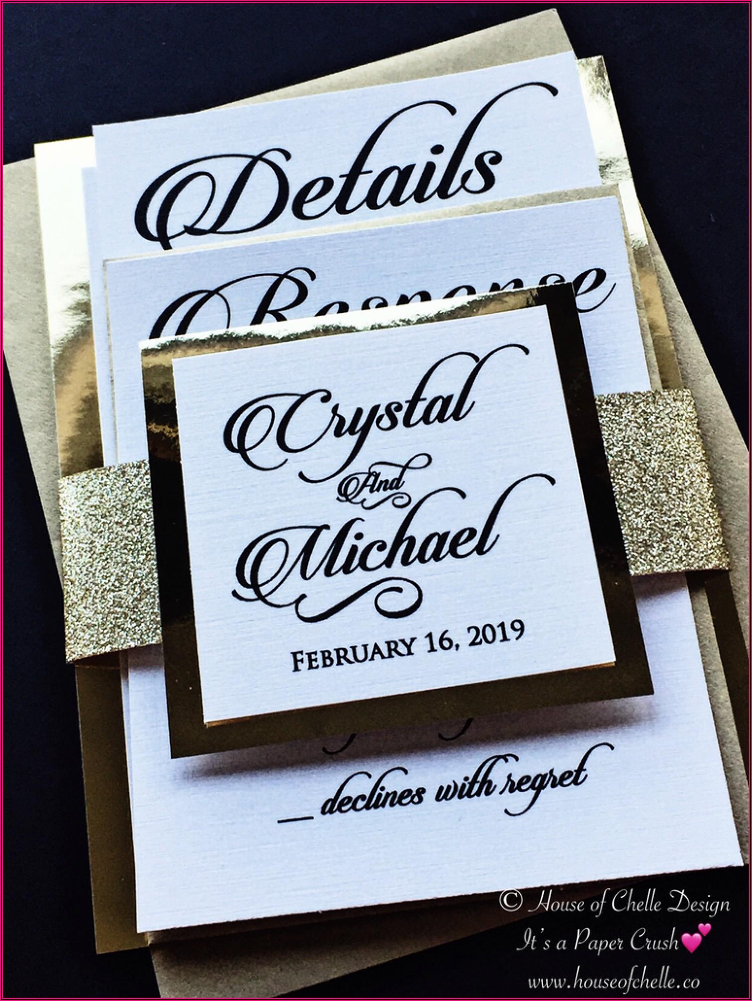 Purple And Rose Gold Wedding Invitations
