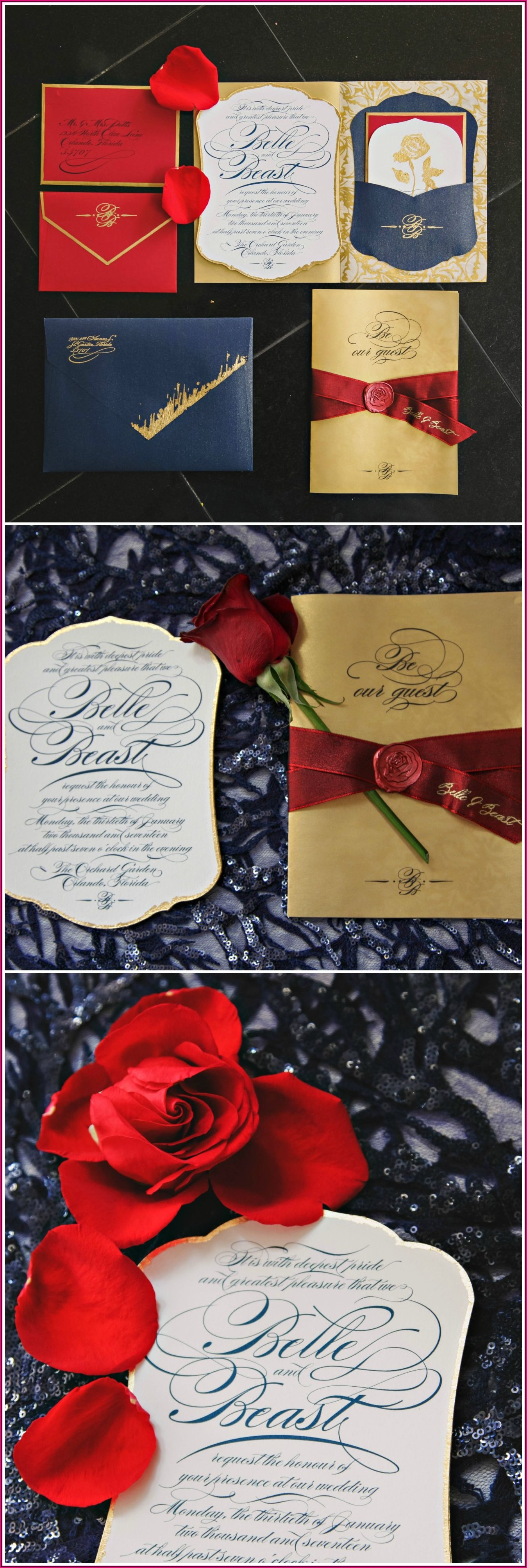 Red And Rose Gold Wedding Invitations