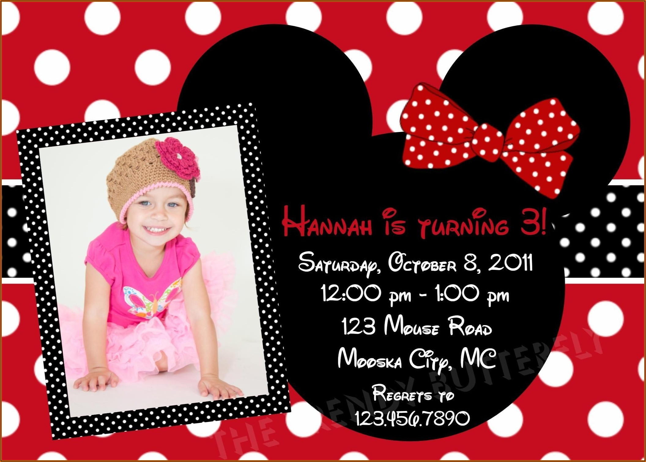 Red Minnie Mouse 2nd Birthday Invitations