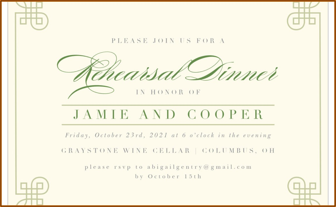 Rehearsal Dinner Invitation Wording Hosted By Bride And Groom
