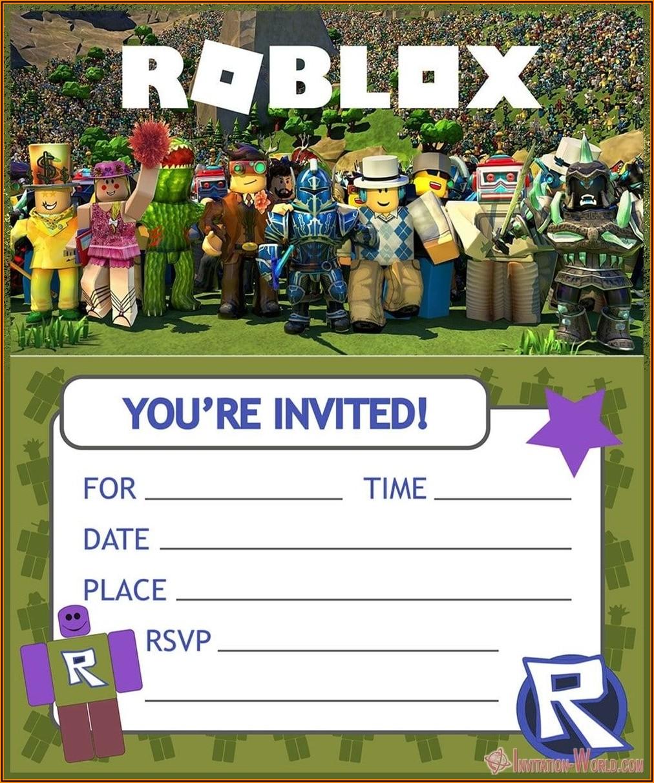 Roblox Birthday Party Invitation Template Free