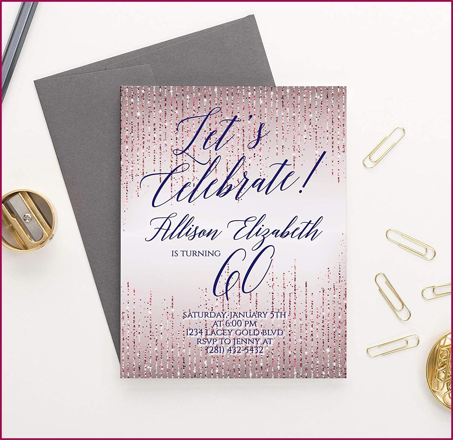 Rose Gold 60th Birthday Invitations