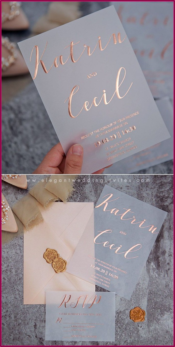 Rose Gold Foil Printed Wedding Invitations