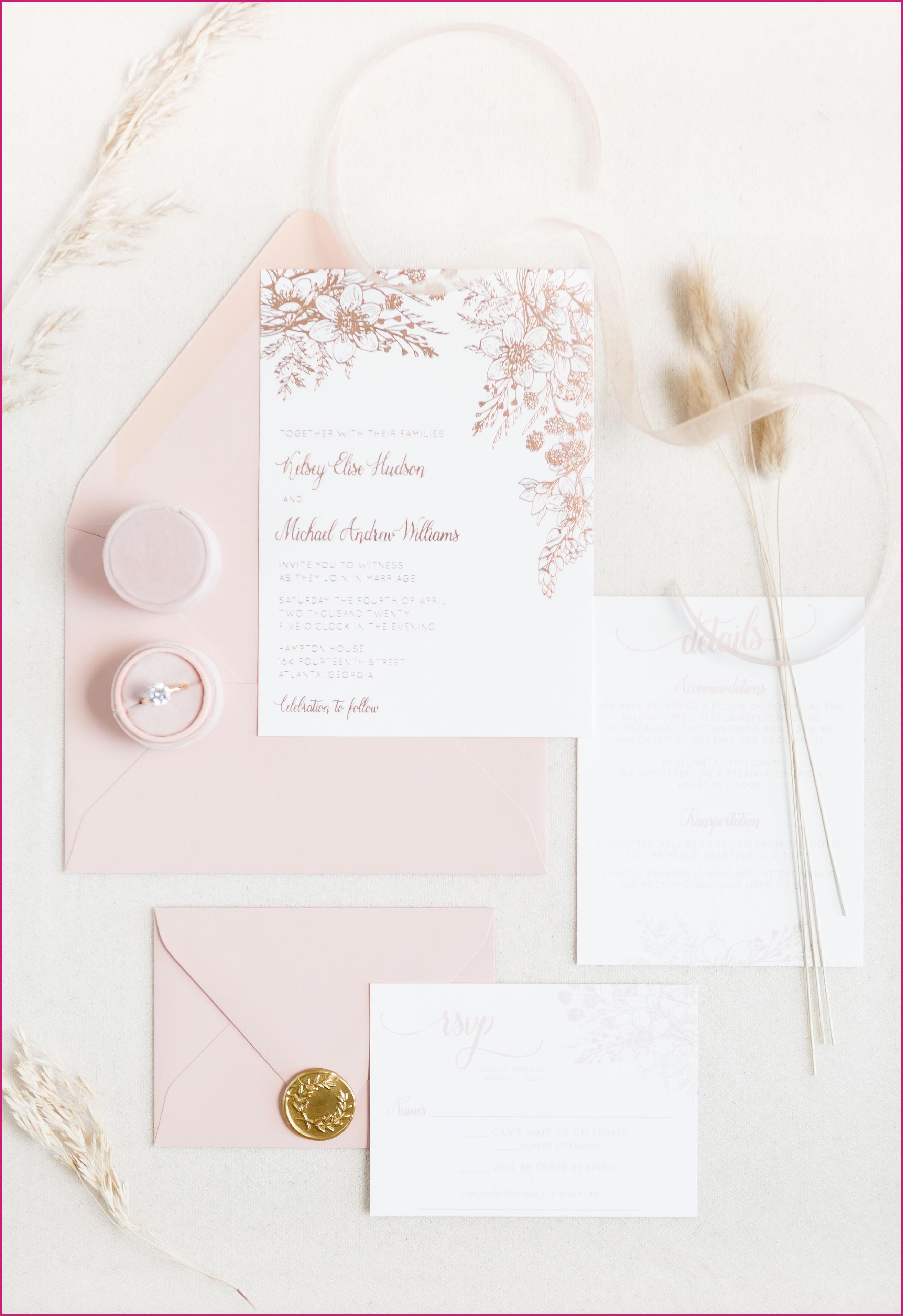 Rose Gold Foil Stamped Wedding Invitations