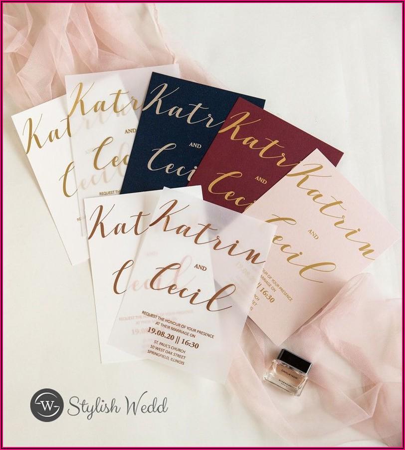 Rose Gold Foil Vellum Wedding Invitations