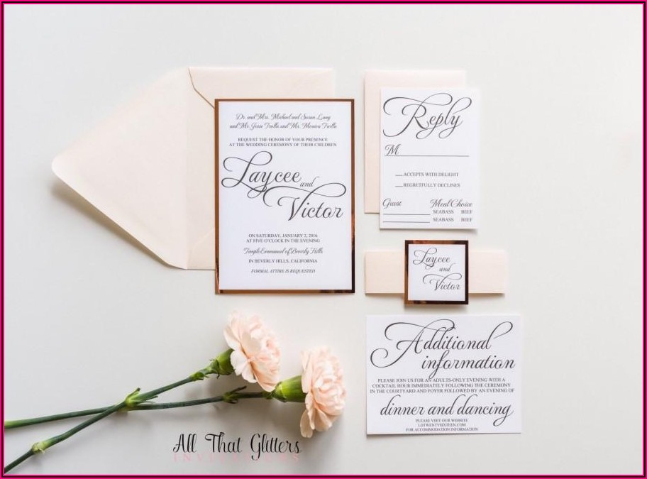 Rose Gold Foil Wedding Invitations Blush