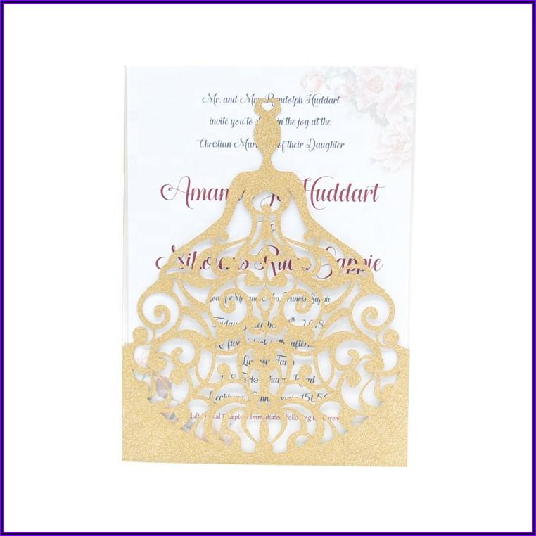 Rose Gold Laser Cut Quinceanera Invitations