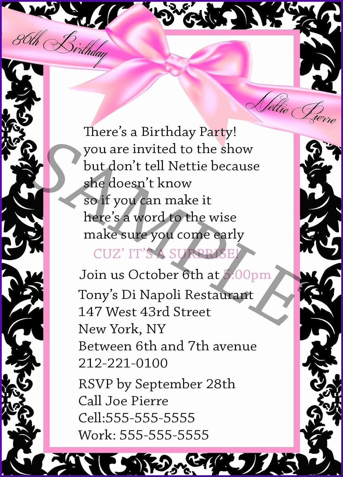 Sample 30th Birthday Invitation Wording