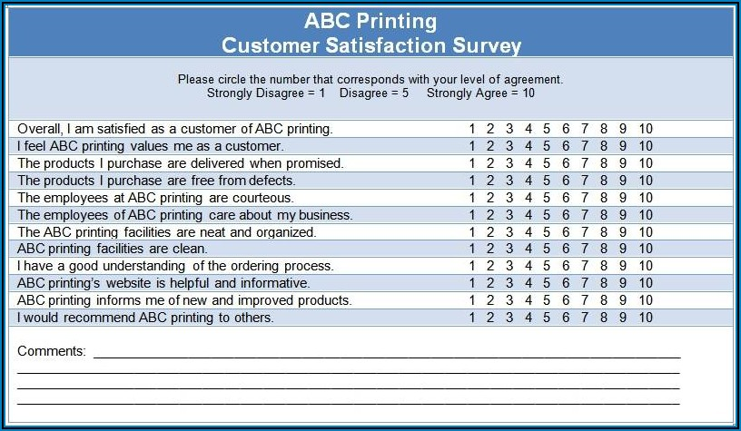 Sample Customer Satisfaction Survey Questions Restaurant