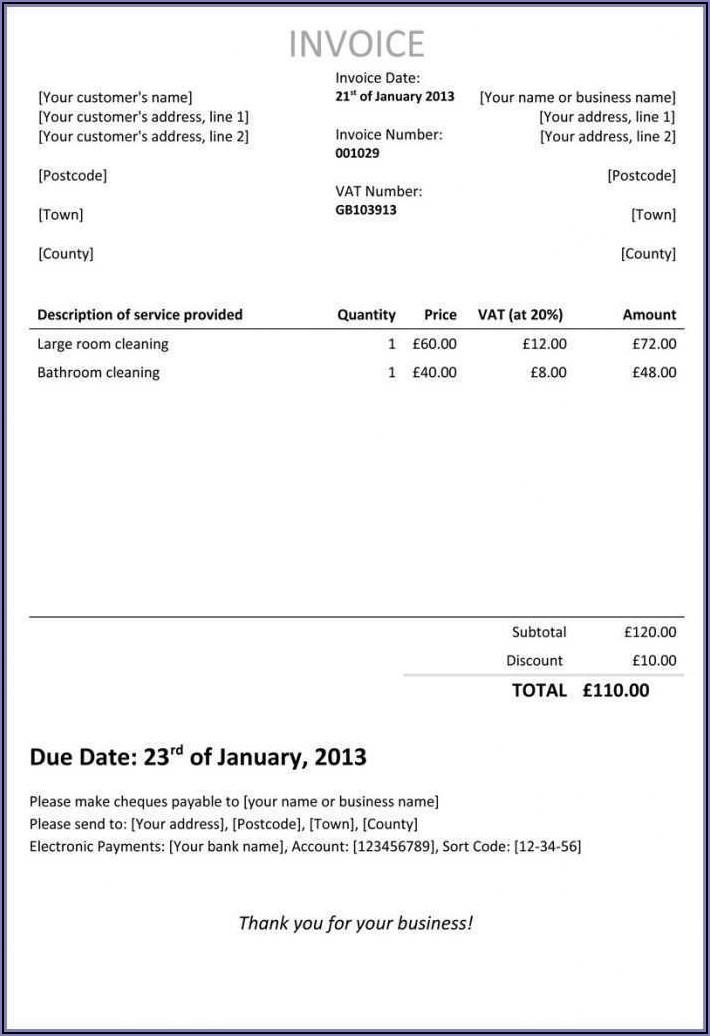 Self Employed Printable Invoice Template Uk