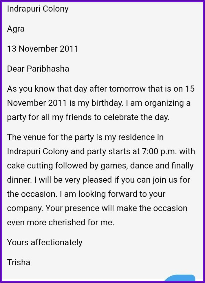 Simple Birthday Invitation Message For Friends