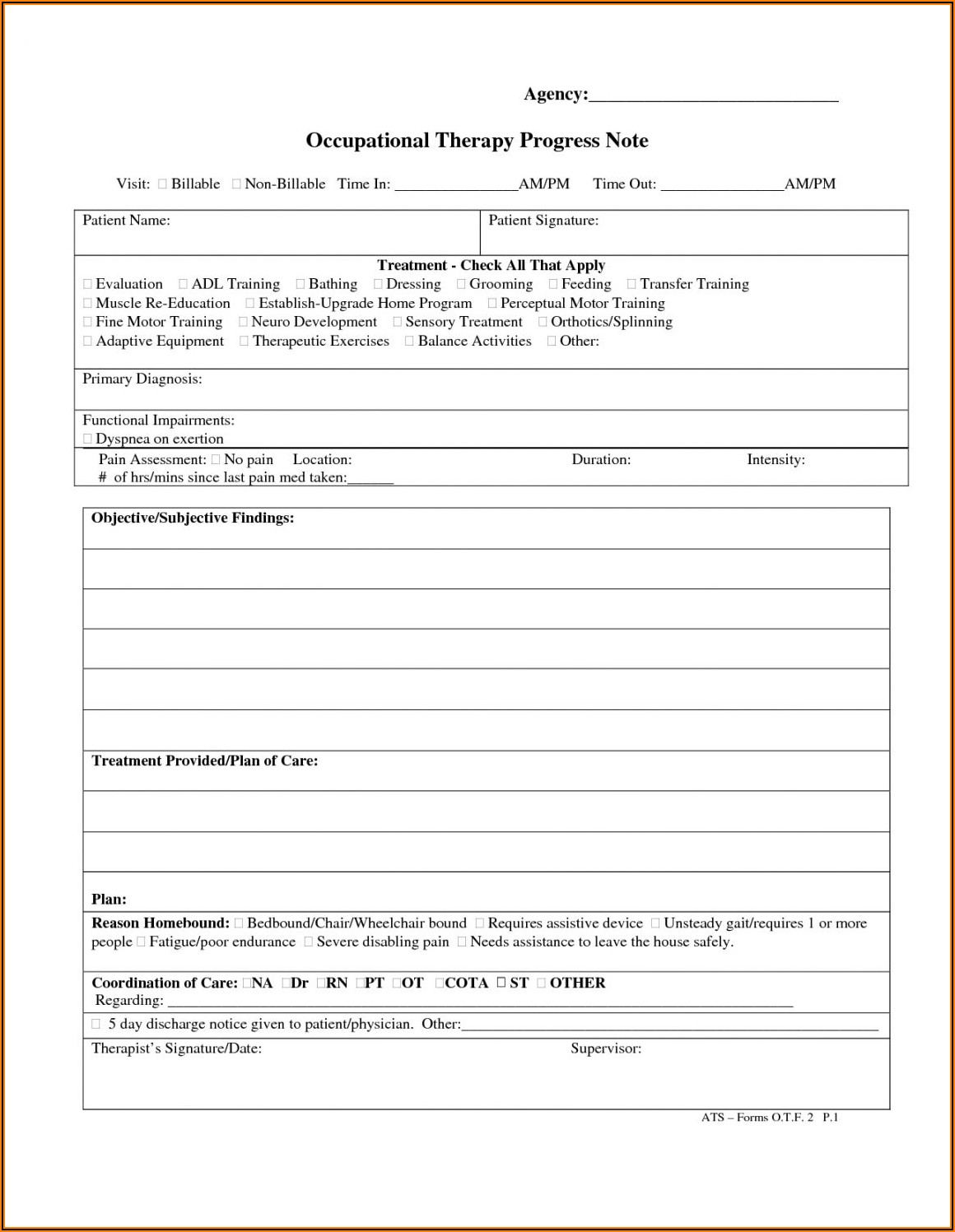 Speech Therapy Daily Notes Template