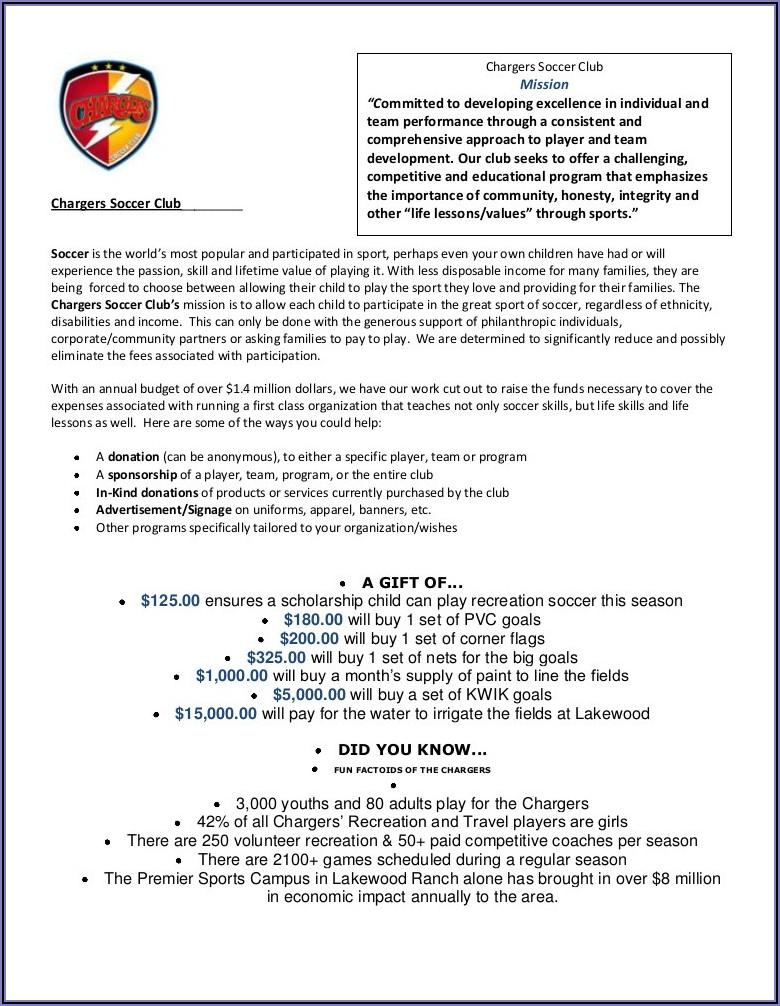 Sponsorship Letter Template For Donations