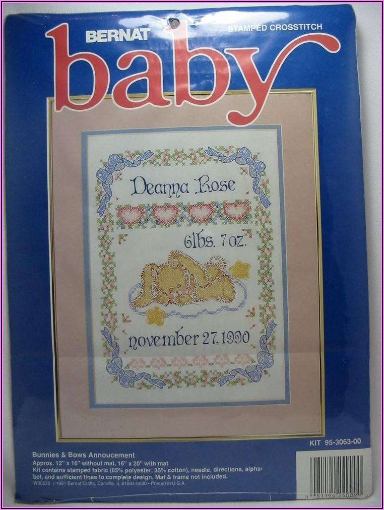 Stamped Cross Stitch Birth Announcement Kit