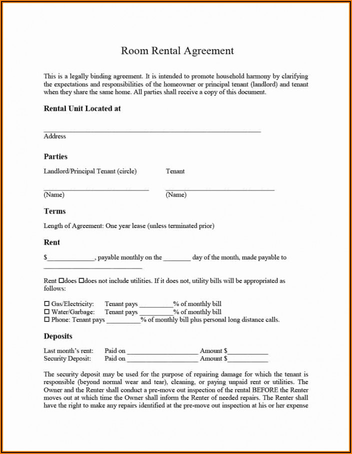 Standard Lease Agreement Example