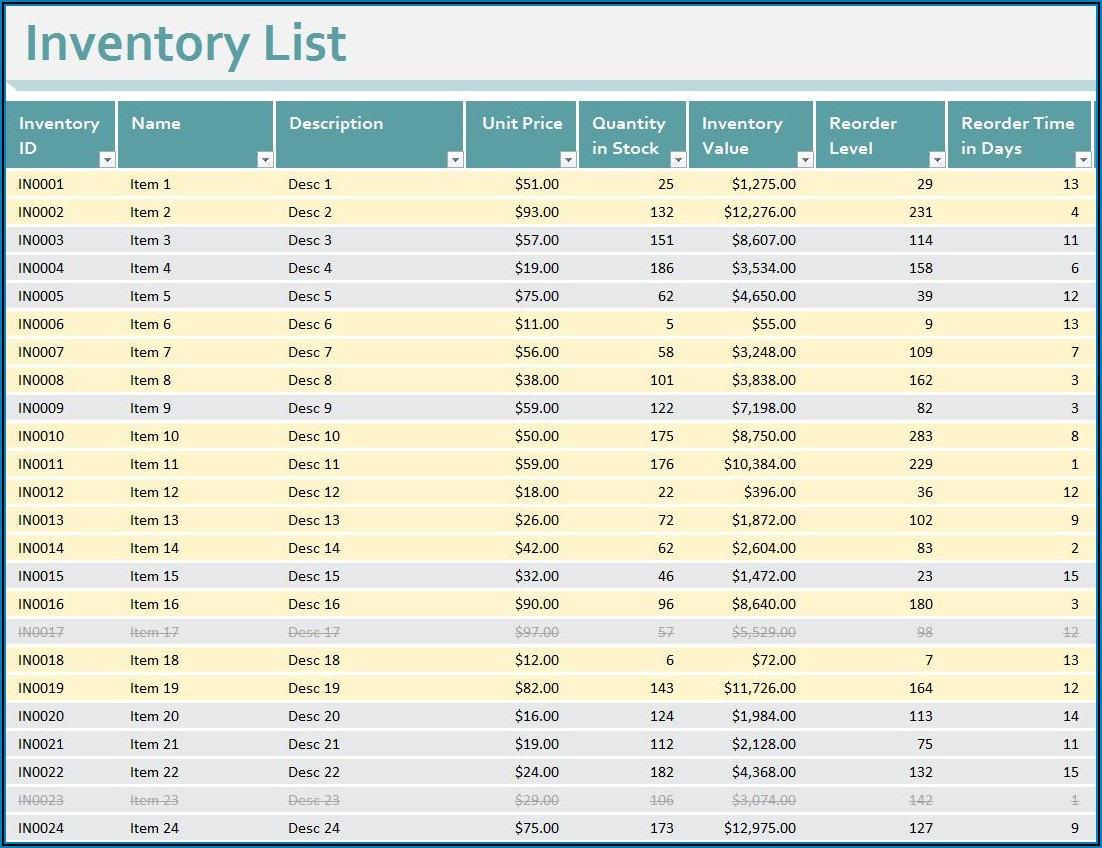 Stock Inventory Control Template Excel Free