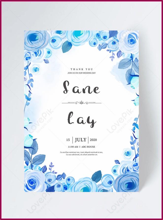 Sunflower And Blue Rose Wedding Invitations
