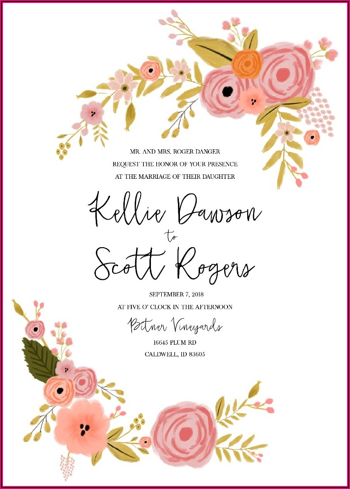Sunflower And Red Rose Wedding Invitations
