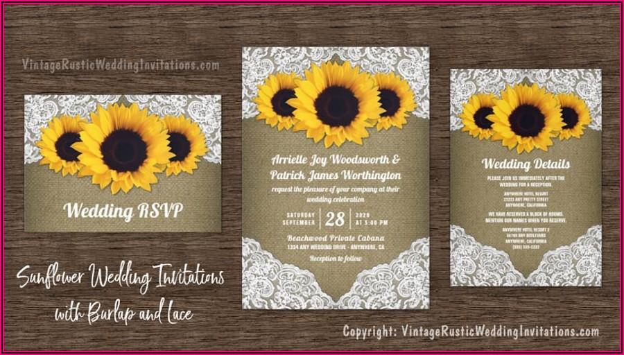 Sunflower And Rose Wedding Invitations