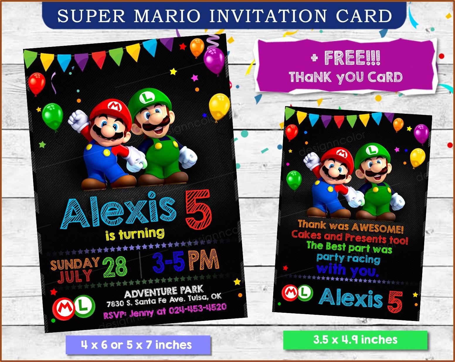 Super Mario Birthday Invitation Card