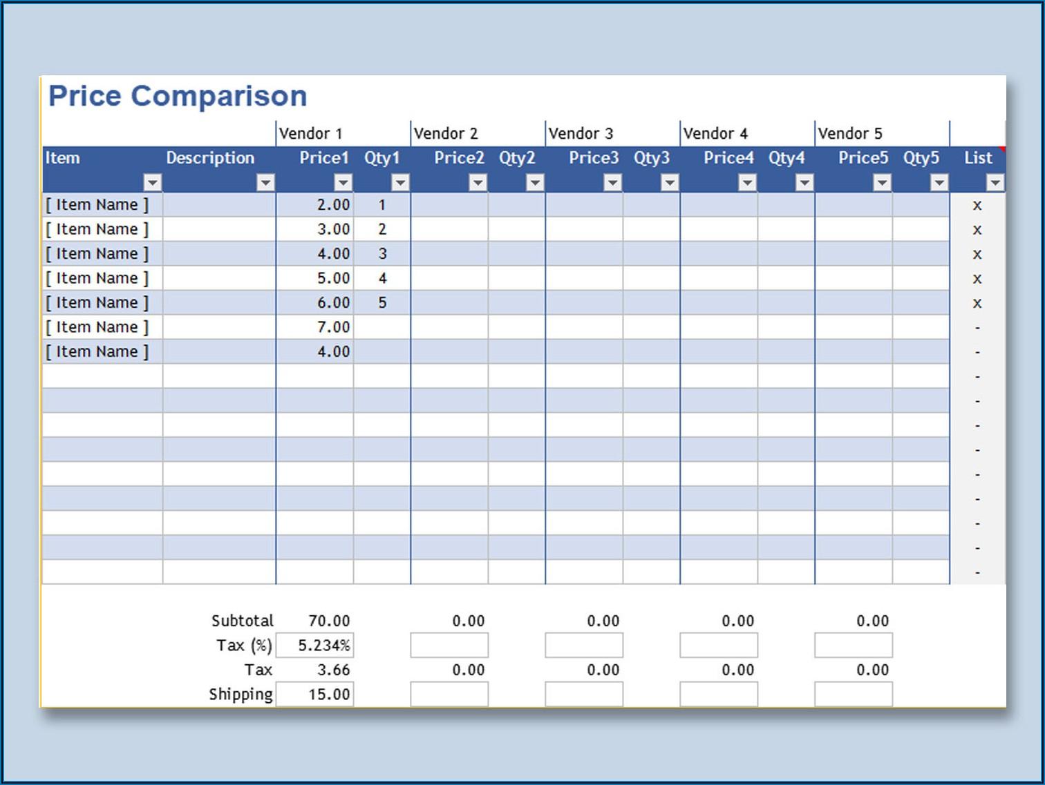 Supplier Price List Template Excel
