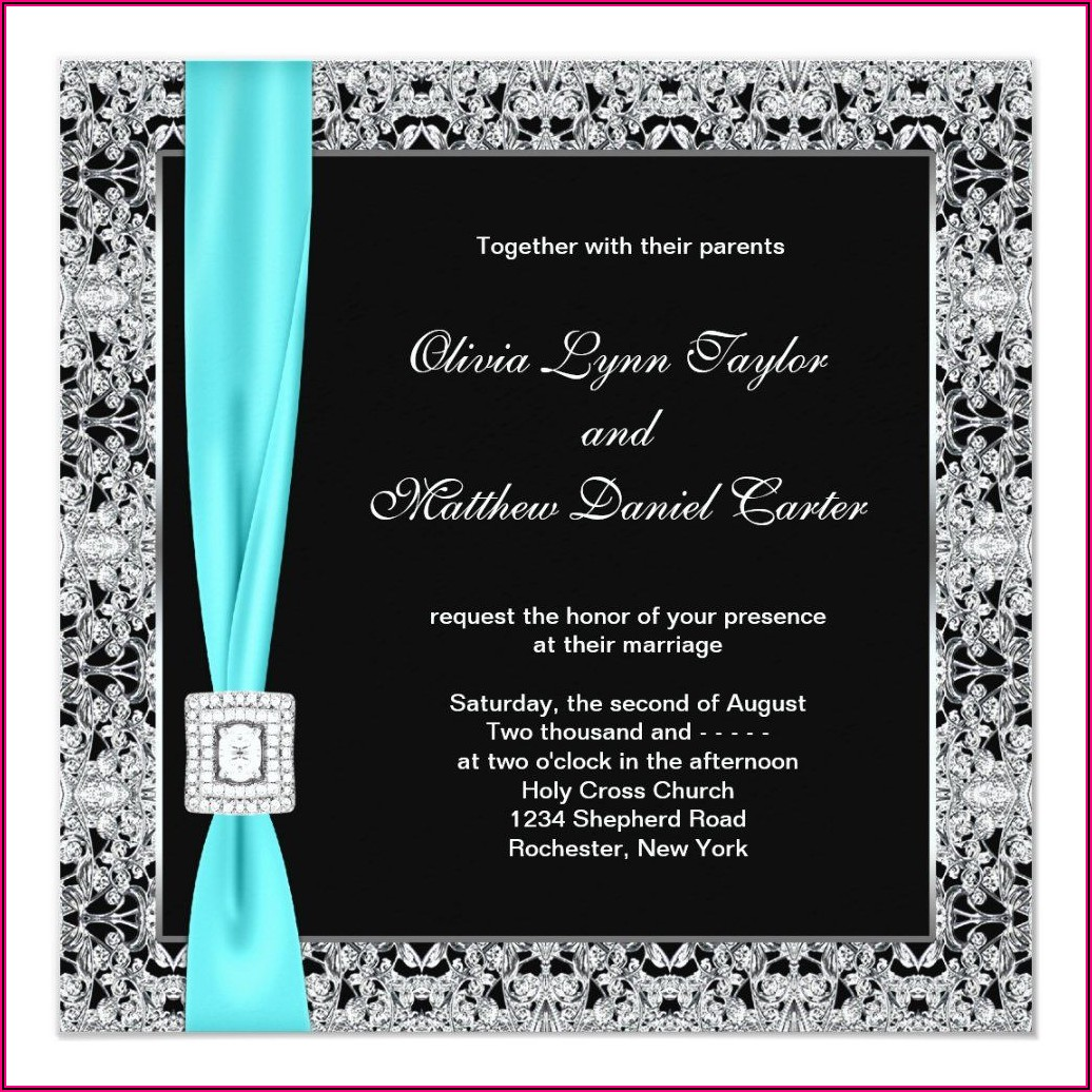 Teal Blue And Silver Wedding Invitations