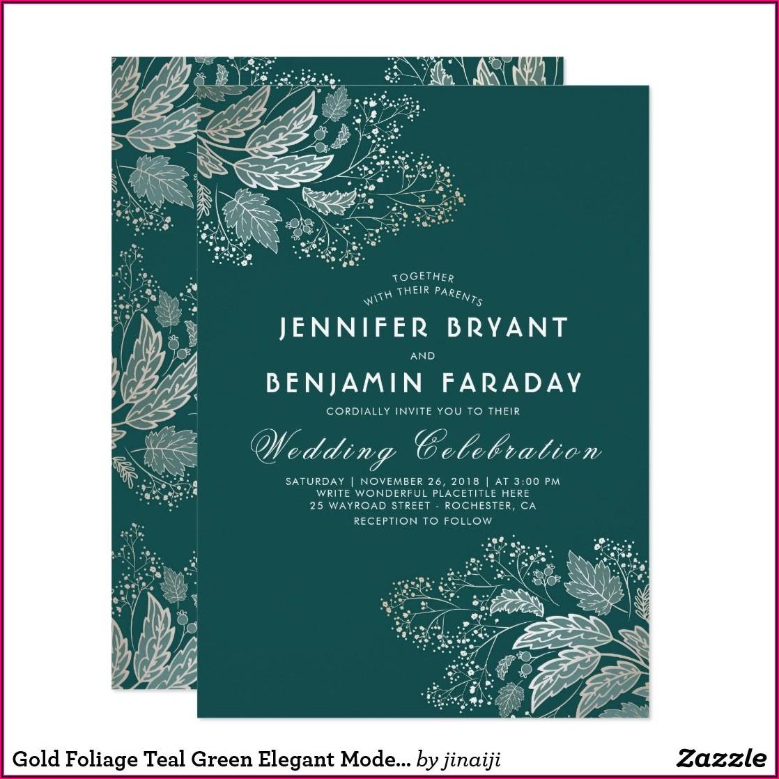 Teal Green Wedding Invitation