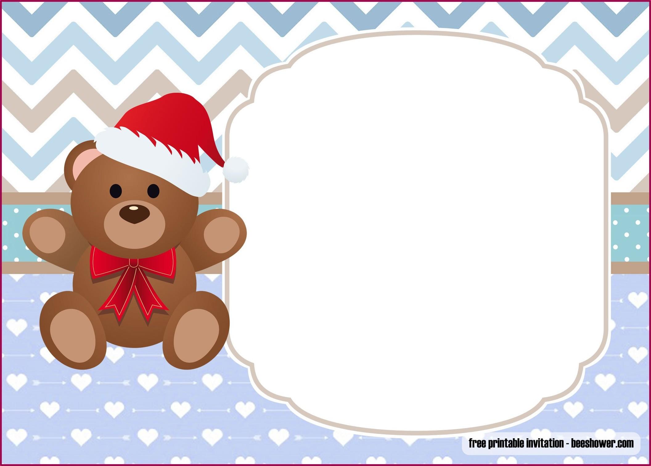 Teddy Bear Birthday Invitation Template Free