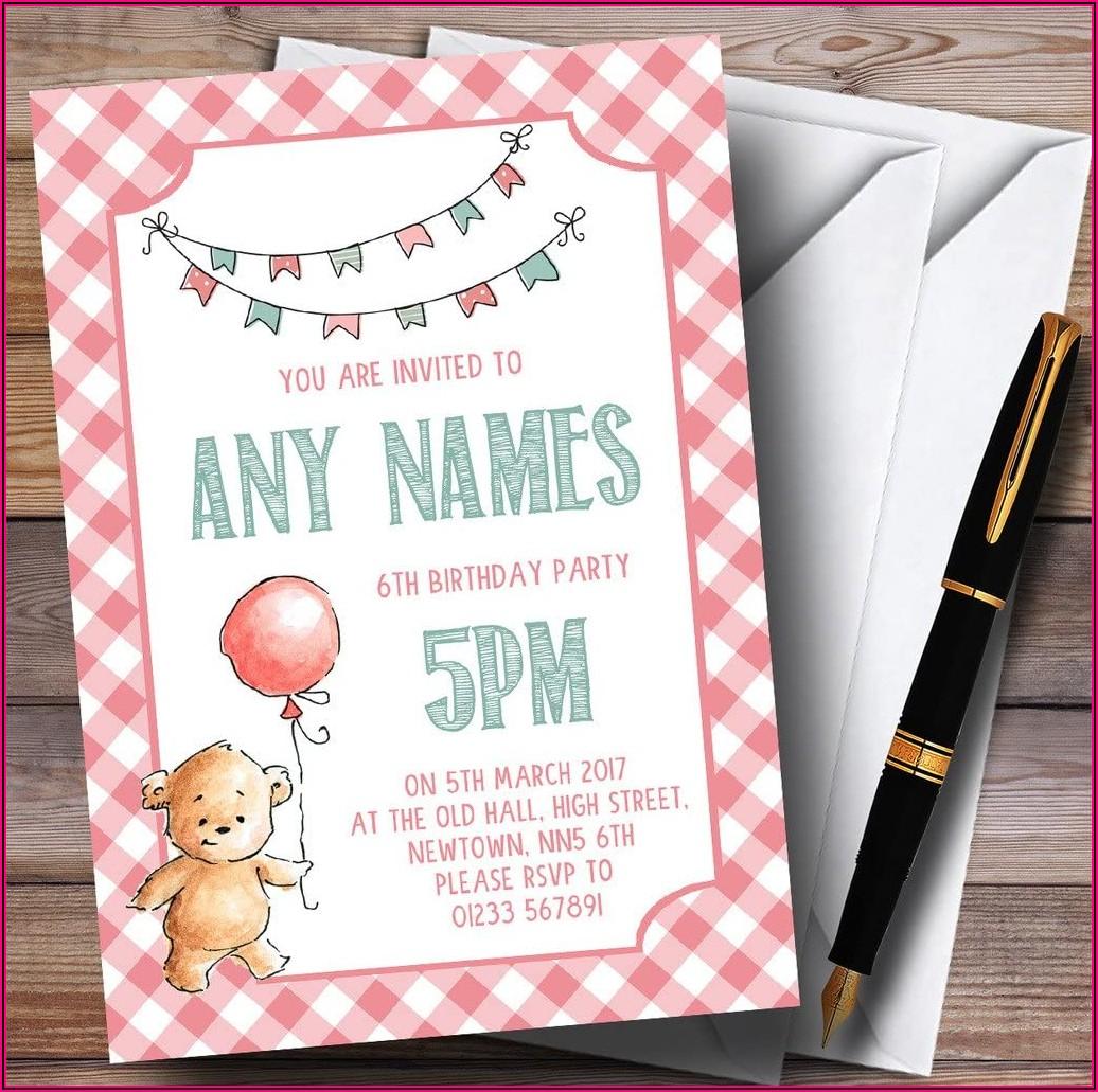 Teddy Bear Birthday Party Invitations