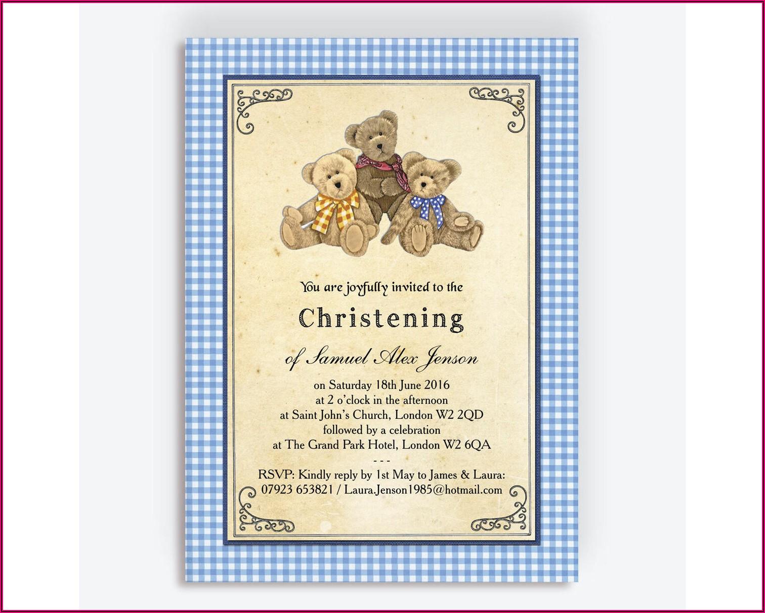 Teddy Bear Christening Invitations