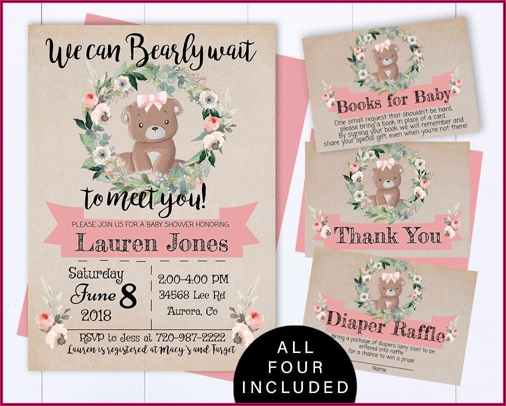 Teddy Bear Picnic Baby Shower Invitations