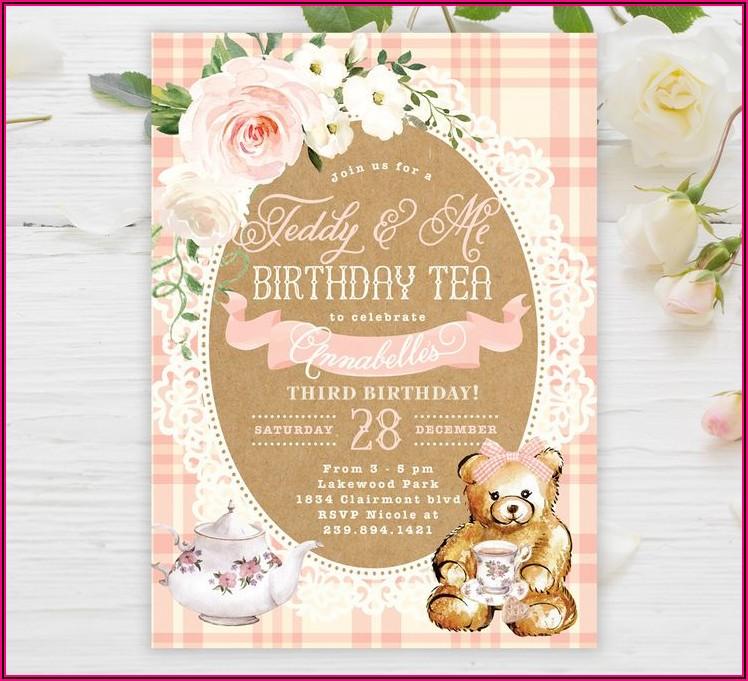 Teddy Bear Picnic Birthday Invitations Template