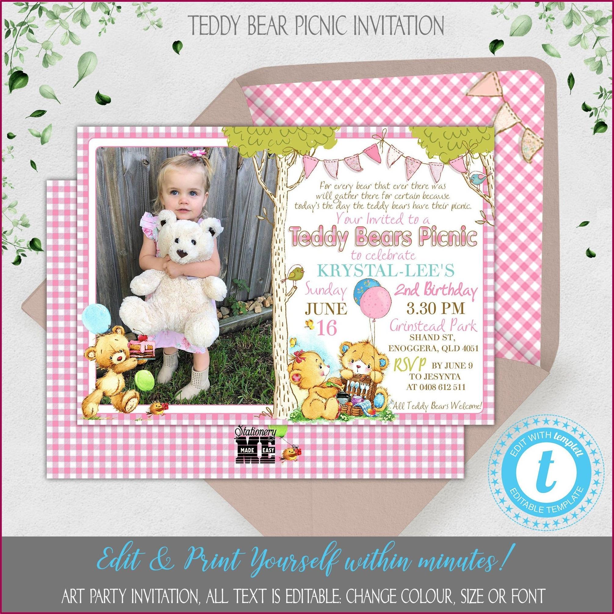 Teddy Bear Picnic Birthday Invitations
