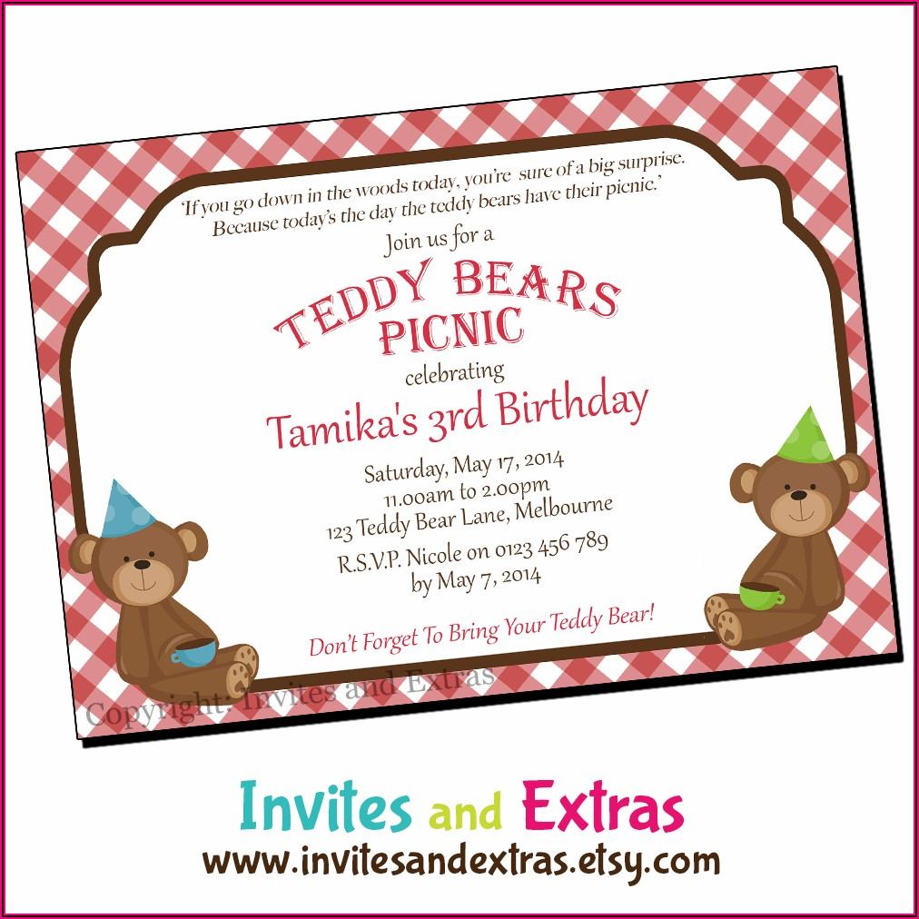 Teddy Bear Picnic Invites Printable